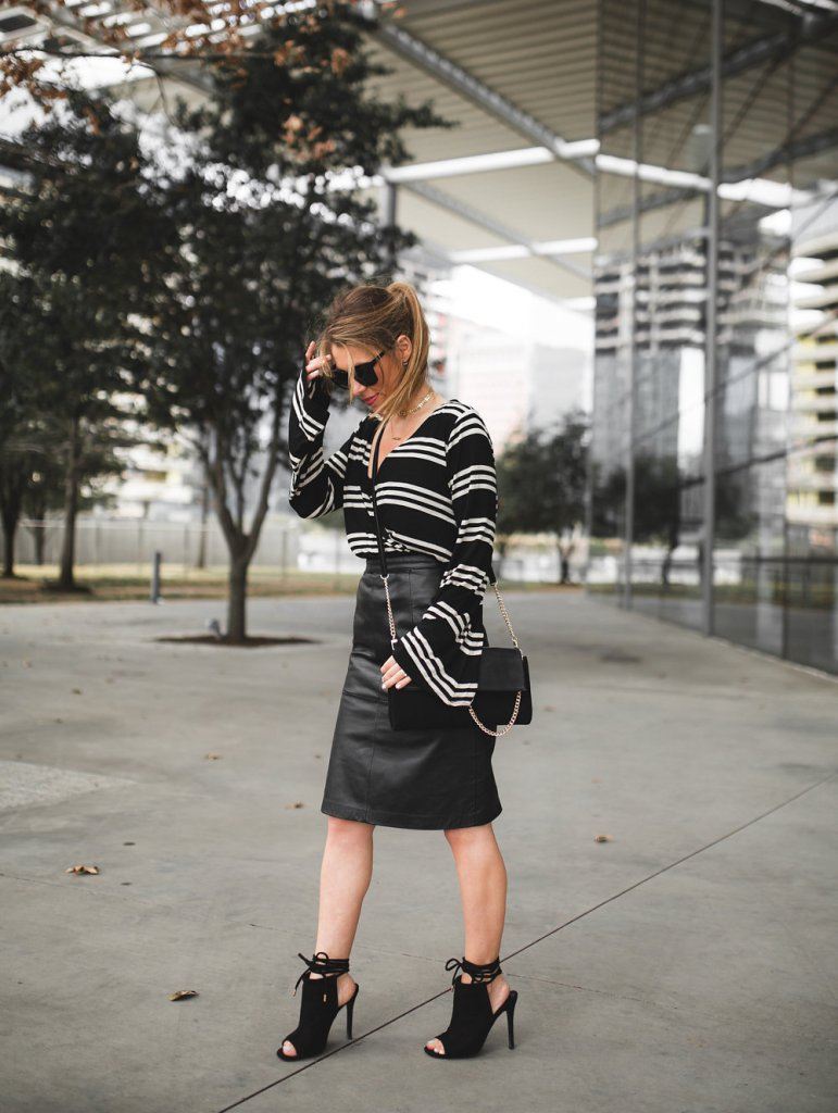 stripe top with pencil skirt
