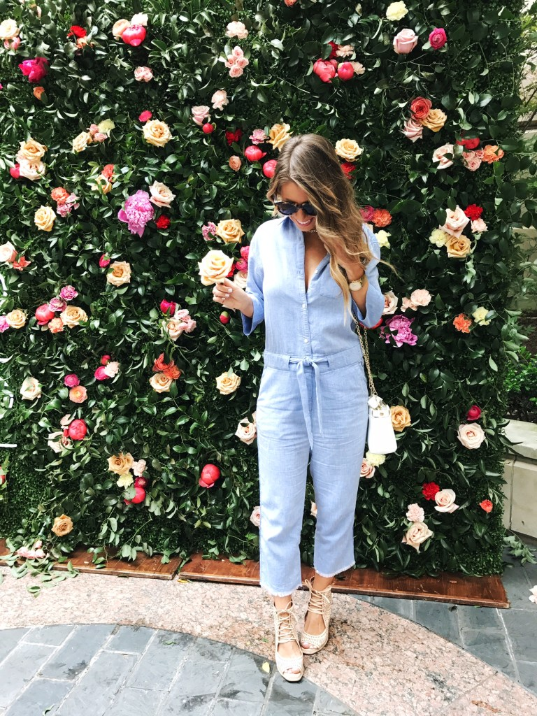chambray jumpsuit floral wall
