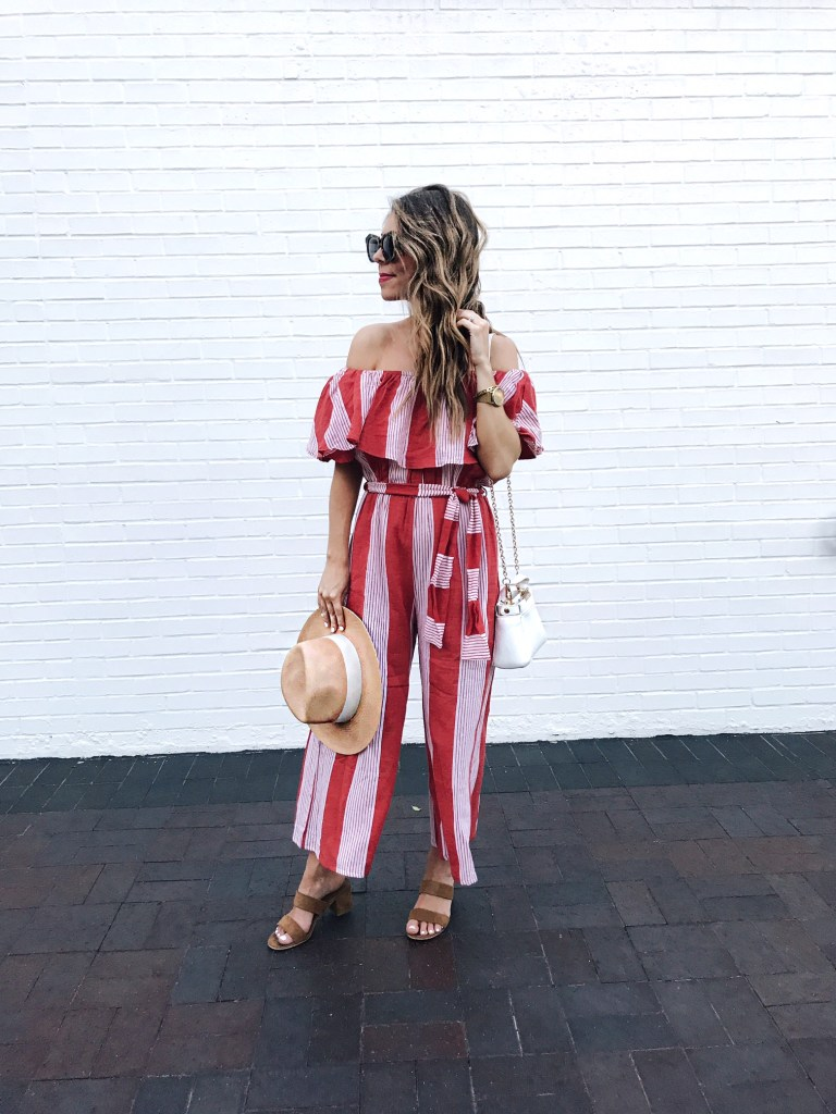 off the shoulder striped jumpsuit from revolve