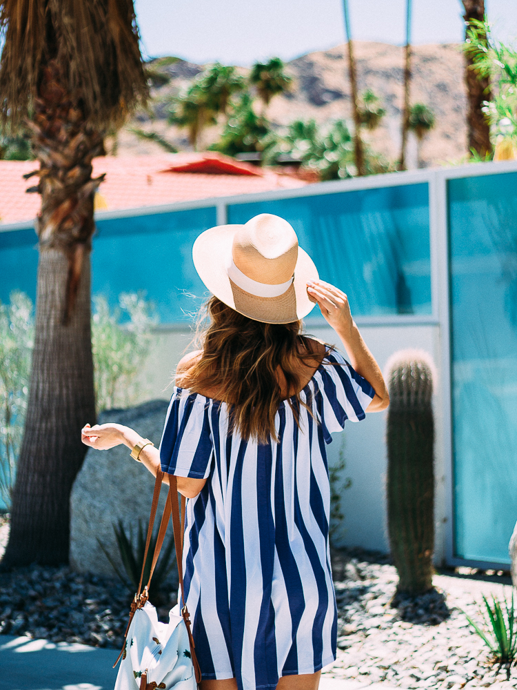 striped dress and panama hat