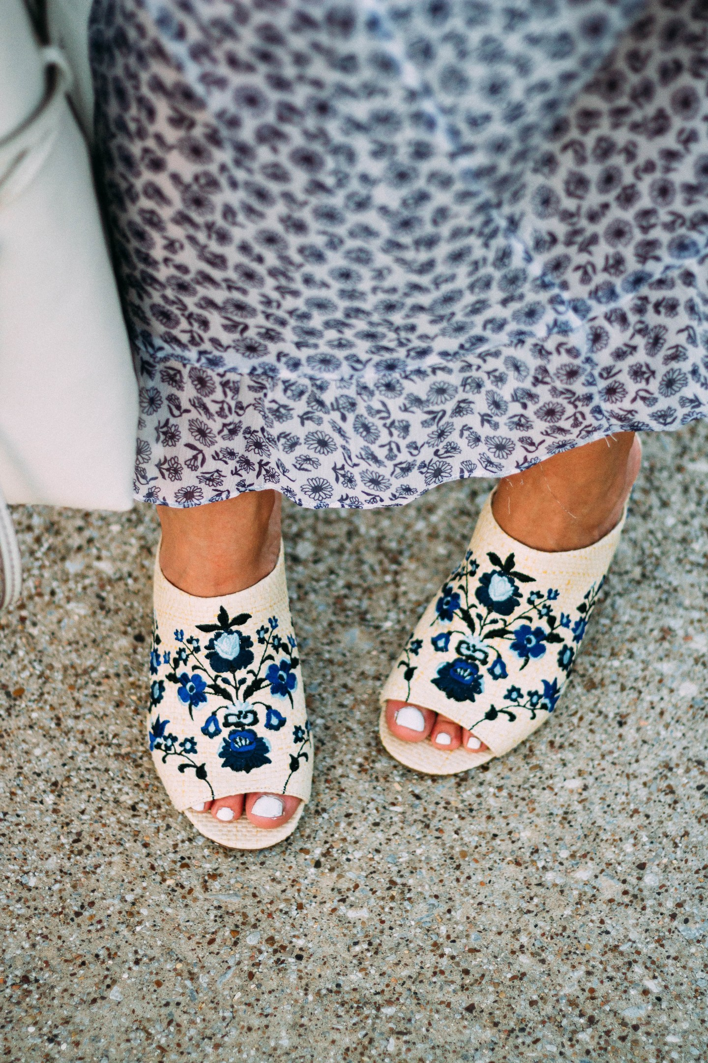 embroidered mule heels