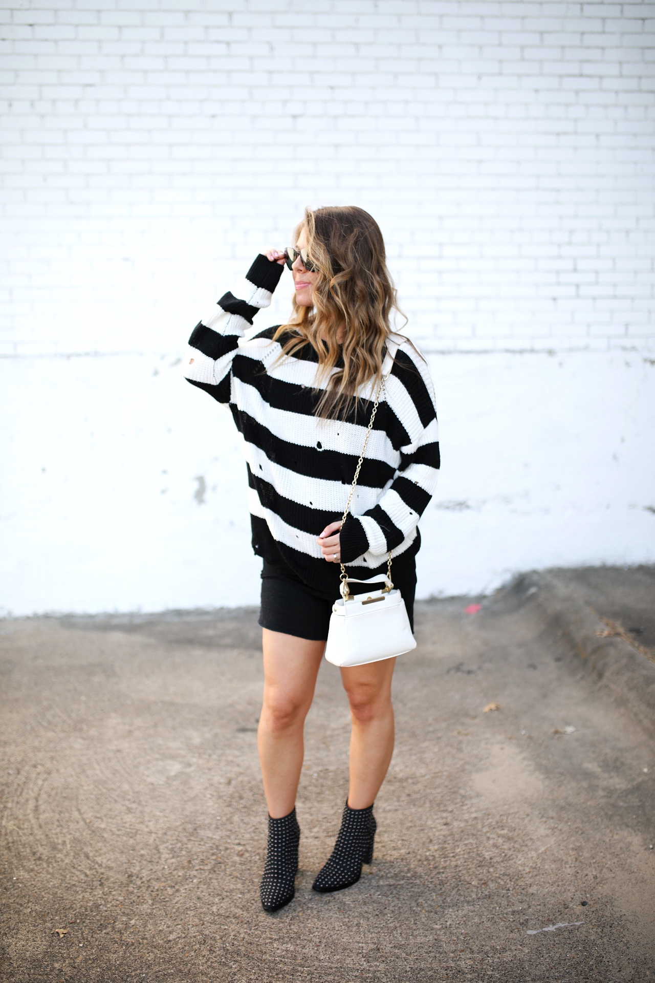 Striped Sweater and Stud Booties nordstrom sale