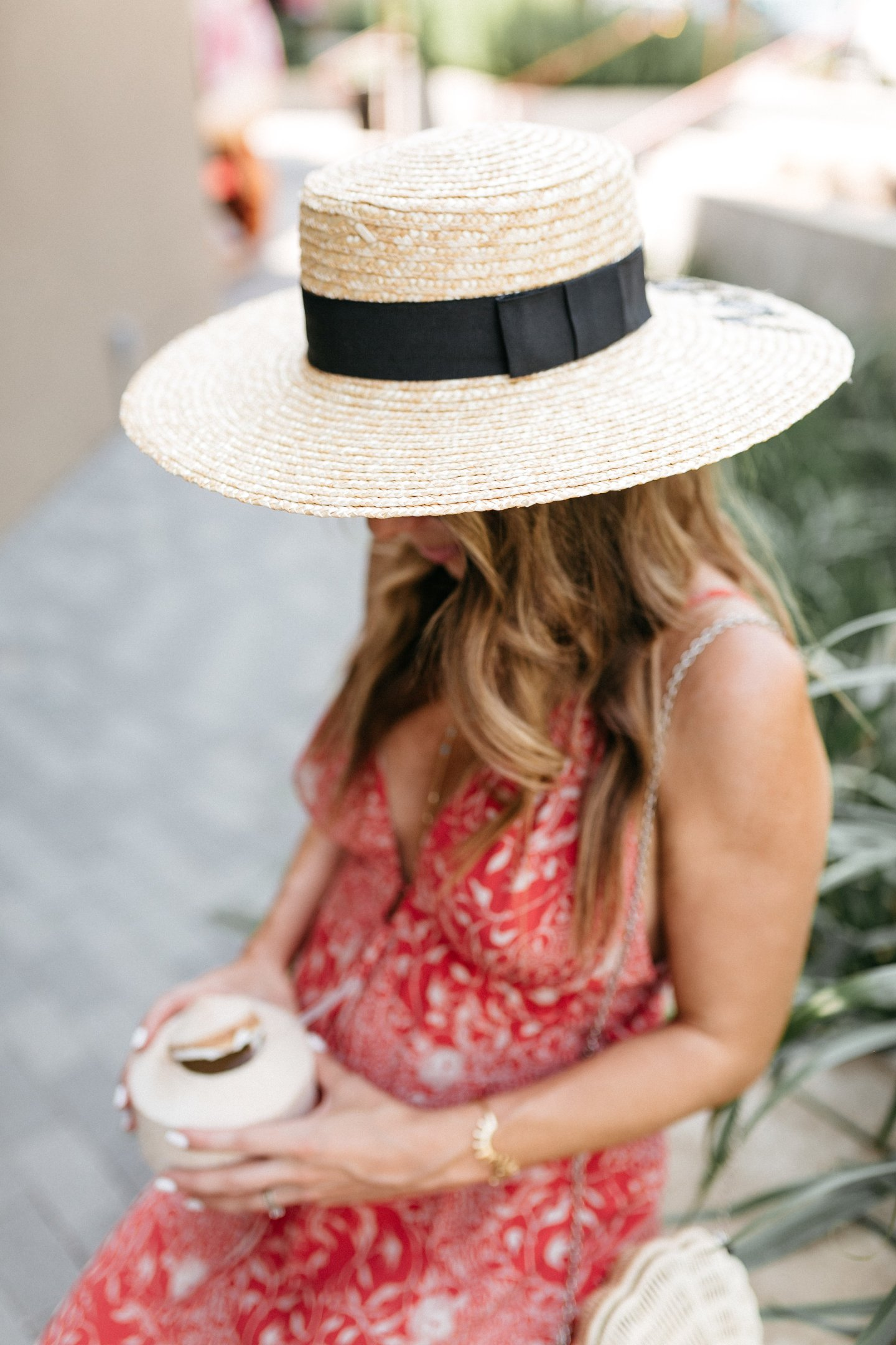 boater hat and coconut