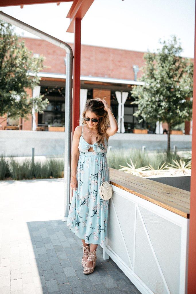 light blue floral midi dress