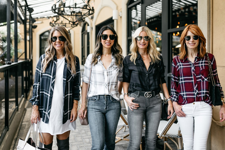fashion bloggers wearing plaid shirt mad for plaid
