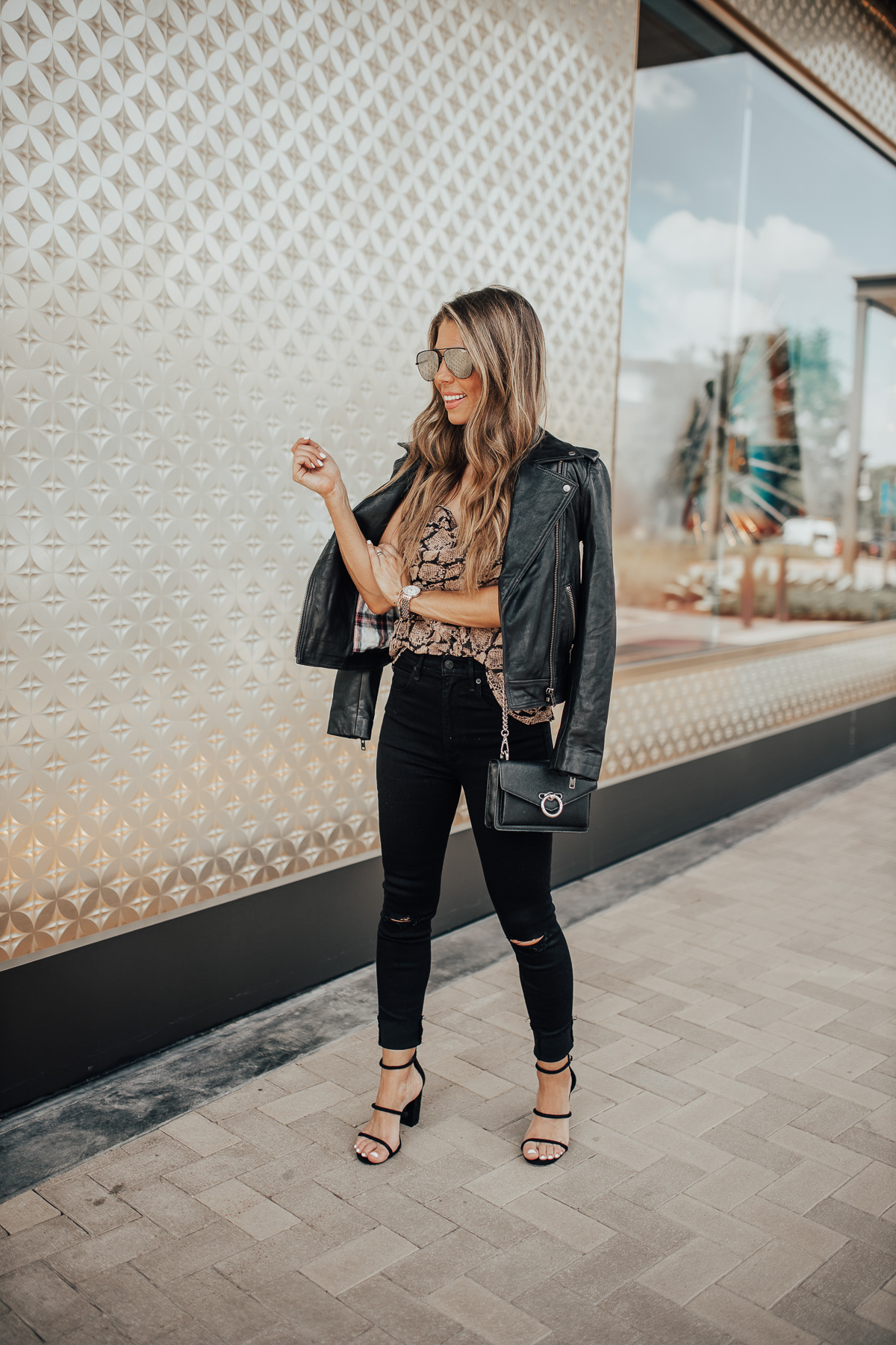 SNAKE PRINT CAMI AND JEANS AND MICHELE WATCH