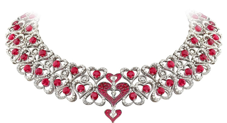 AVAKIAN'S unique necklace set with diamonds rubies and an important 60ct Colombian Emerald