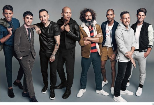 2014 Best New Menswear Designers in America pose with models.