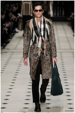 Burberry Prorsum Fall-Winter 2015 Menswear Collection. Christopher Bailey has created a legacy at Burberry, dressing up the famed British fashion house's classic outerwear designs with intricate prints and colors. For fall, Bailey embraces animal prints for an injection of attitude.