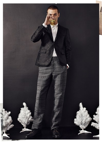 Yuri Pleskun wears all clothes Thom Browne.