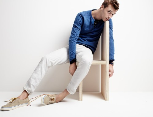 Clément Chabernaud wears Lightweight Henley Sweatshirt, 770 Japanese Selvedge Jeans in White, Unisex Vans for J.Crew Washed Canvas Authentic Sneakers and Timex for J.Crew Andros Watch, all from J.Crew.