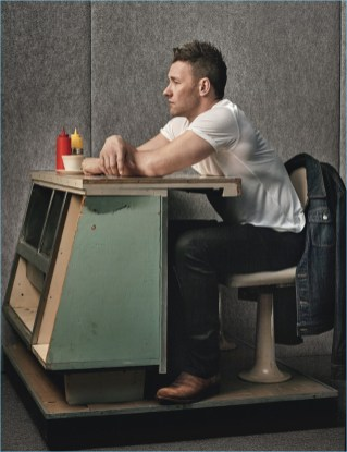 Joel Edgerton sits at a retro style diner counter for W magazine.
