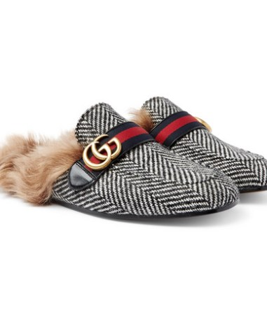 0d1b722df Gucci - Princetown Shearling-Lined Herringbone Wool Backless Loafers - Gray