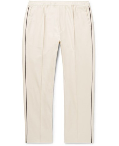 e6dbb1ae0 Gucci - Slim-Fit Cropped Piped Cotton-Piqué Drawstring Trousers - Men -  Beige