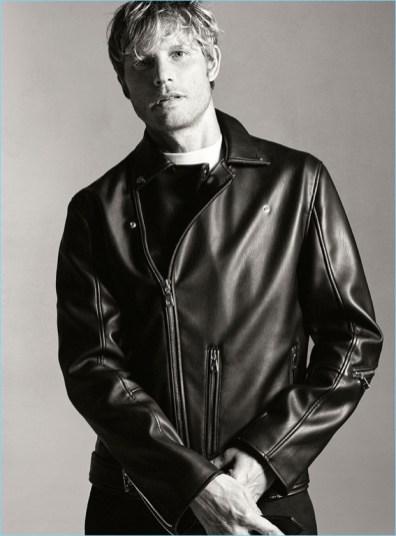 Arnaud Lemaire in Zara Man leather jacket.
