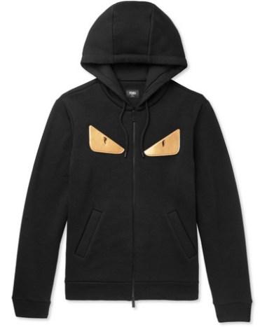 aa21d2ec Fendi – Appliquéd Fleece-Back Jersey Zip-Up Sweatshirt – Men – Black ...