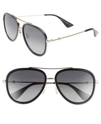 ccb465eb4633f Men s Gucci Web Block Pilot 57Mm Polarized Aviator Sunglasses -