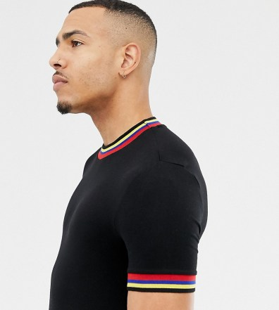 90e508f0 ASOS DESIGN Tall muscle fit t-shirt with rainbow tipping in black - Black