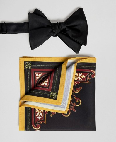 ddea60fc12ef ASOS DESIGN suspender and bow tie set in black with gold paisley bow ...