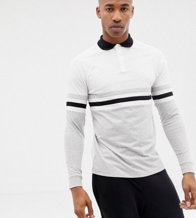 7e7513ae ASOS DESIGN long sleeve polo shirt with contrast body and sleeve panels in  white - White
