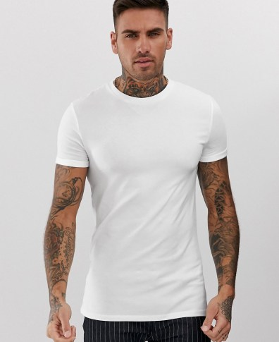 0b7ee442 ASOS DESIGN muscle fit crew neck t-shirt with stretch and roll sleeve in  white