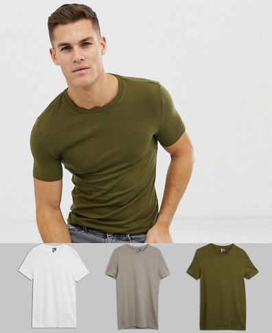 ae6679070db ASOS DESIGN organic muscle fit crew neck t-shirt with stretch 3 pack  multipack saving
