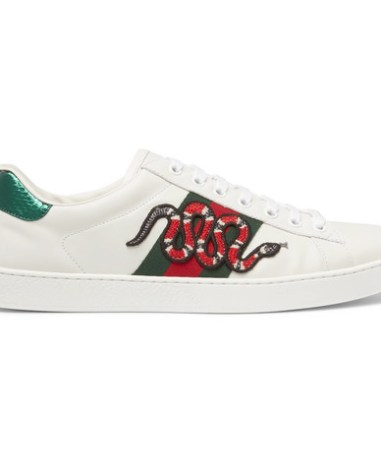 94531b0dd62 Gucci - Ace Watersnake-Trimmed Appliquéd Leather Sneakers - Men - White