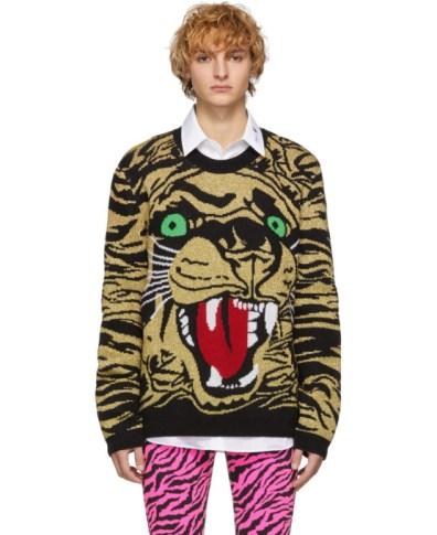 0f958d7689d6 Gucci Black Voliere Jacquard Sweater | The Fashionisto