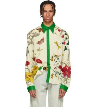 6ab063ba59d Gucci White New York Yankees Edition Floral Gothic Print Shirt | The ...