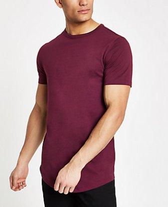 accac6e9 River Island Mens Dark brown curved hem longline T-shirt   The ...