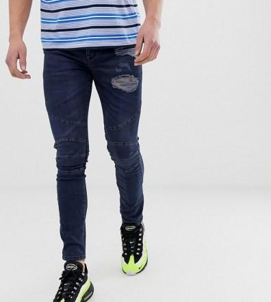 d2695191 ASOS DESIGN super skinny biker jeans in dark blue wash with abrasions - Blue