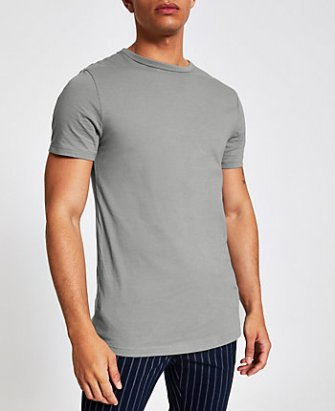 6dc9586c6024 River Island Mens Big and Tall dark green muscle fit T-shirt   The ...
