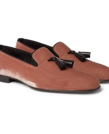 8acab14faba29 TOM FORD - William Leather-Trimmed Velvet Tasselled Loafers - Men - Pink