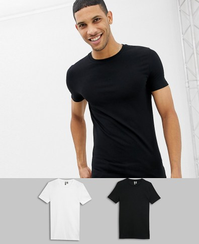 3ceb680647a8 ASOS DESIGN muscle fit crew neck t-shirt with stretch 2 pack multipack  saving -