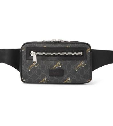 855f03f55 Gucci - Leather-Trimmed Monogrammed Coated-Canvas Belt Bag - Men - Black