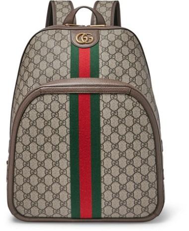 8e53c9bd3 Gucci - Leather and Webbing-Trimmed Monogrammed Coated-Canvas Backpack -  Men - Beige