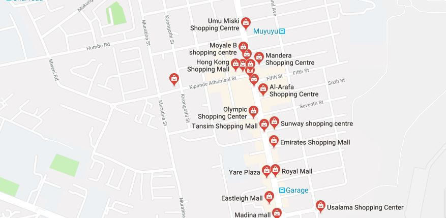 A map showing wholesale shops in Eastleigh Nairobi