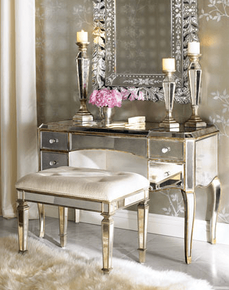 Mirrored Vanity Table and Mirrored Chair