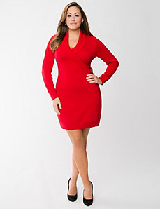 Figure 2 – Lane Bryant - Plus Size Faux Wrap Sweater Dress - $84.95