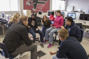 Evan Christensen discusses with video production class about new action film in the pre-production stage, Feb. 1.
