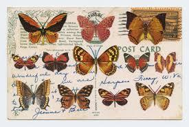 Migration I Collage of stamps on postcards