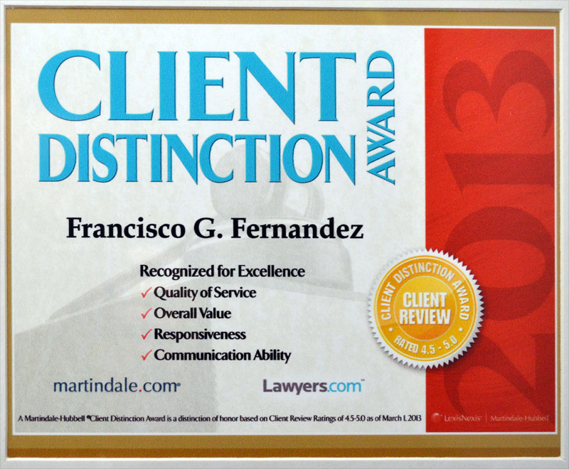 Client Distinction Award, 3-2013 from Martindale-Hubb