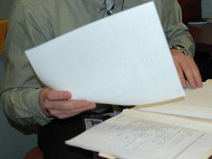 Viewing paperwork