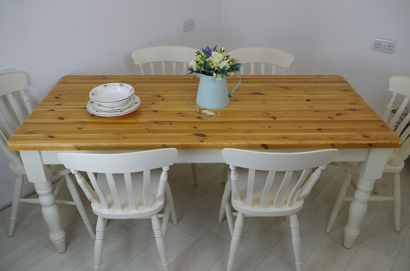 Six Foot Long Pine Farmhouse Table With 6 Beech Slat Back