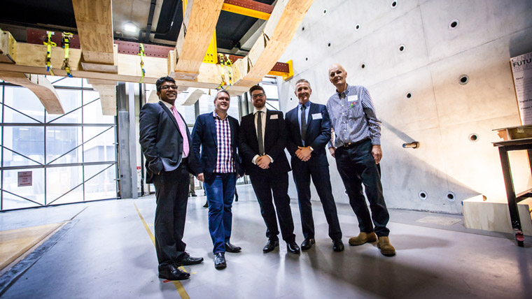Researchers from Centre for Future Timber Structures in the Advanced Engineering Building