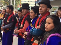 Village people protesting for peace in Bogota