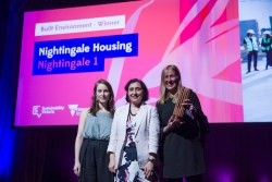 Bonnie Herring (Breathe Architecture), minister for energy, environment and climate change Lily D'Ambrosio, and Angela Perry (Nightingale Housing).