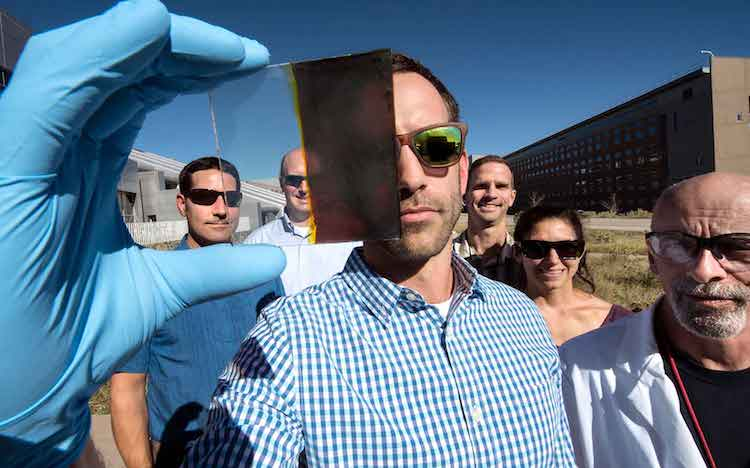 Dr Lance Wheeler (front) has developed a switchable photovoltaic window along with (from left) Nathan Neale, Robert Tenent, Jeffrey Blackburn, Elisa Miller and David Moore. Image: Dennis Schroeder/NREL