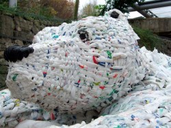 Sculpture made from recycled carrier bags, at the Eden Project near St Austell, Cornwall, UK. photo: Kirk Laws-Chapman