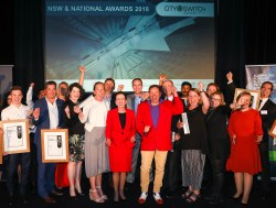 Award winners and presenters celebrate the 2018 awards.